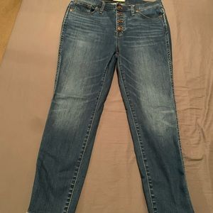 "Size 32 Madewell 10"" High-Rise Skinny Crop Jeans"